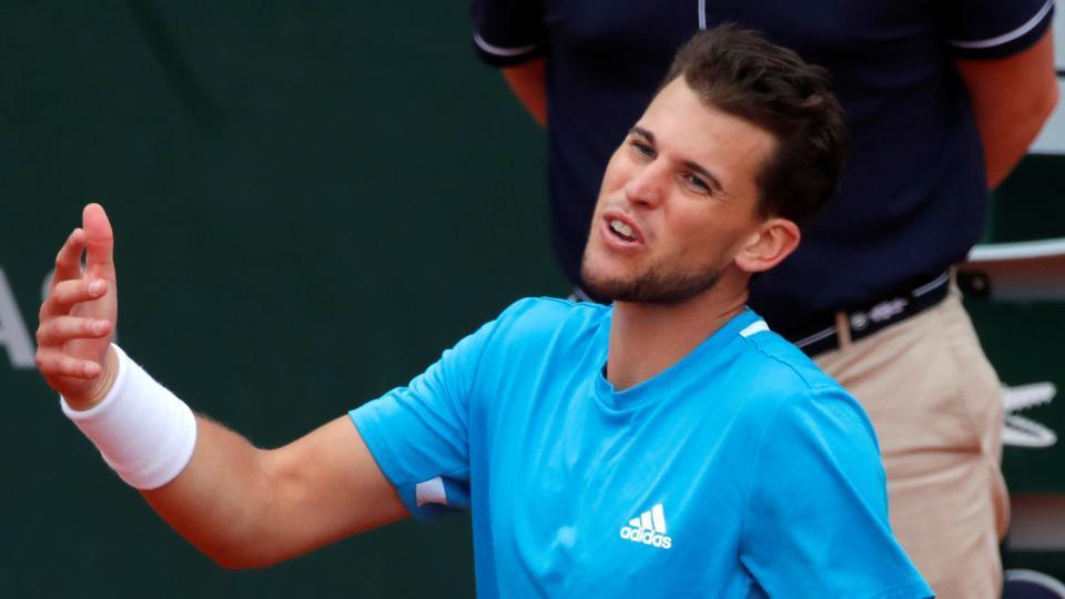 French Open - Roland Garros, Paris, France - June 9, 2019. Austria's Dominic Thiem reacts during his final match against Spain's Rafael Nadal.