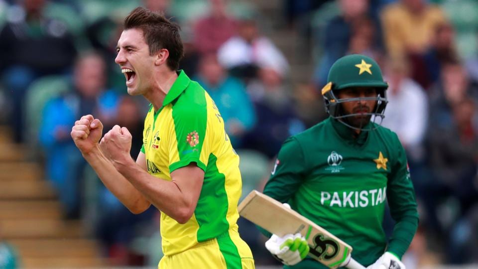 Australia's Pat Cummins celebrates taking the wicket of Pakistan's Shoaib Malik during their ICC World Cup match. (Action Images via Reuters)
