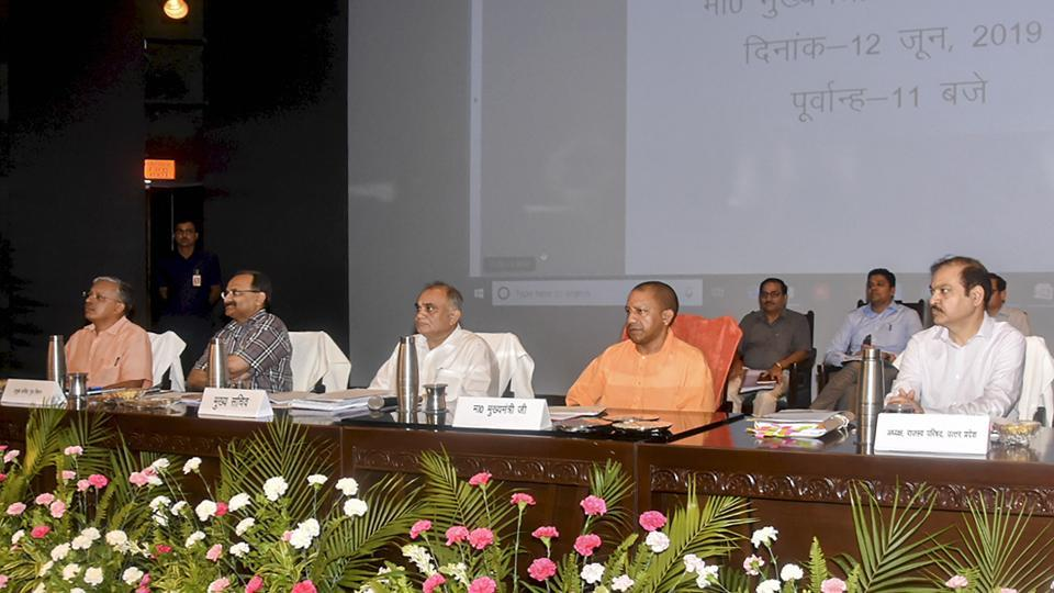 Uttar Pradesh Chief Minister Yogi Adityanath during a review meeting on law and order situation with senior officials at Lok Bhawan, in Lucknow, Wednesday.
