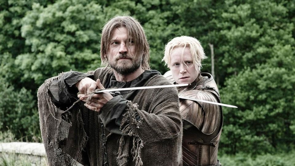 Nikolaj Coster-Waldau and Gwendoline Christie as Jaime Lannister and Brienne in Game of Thrones.