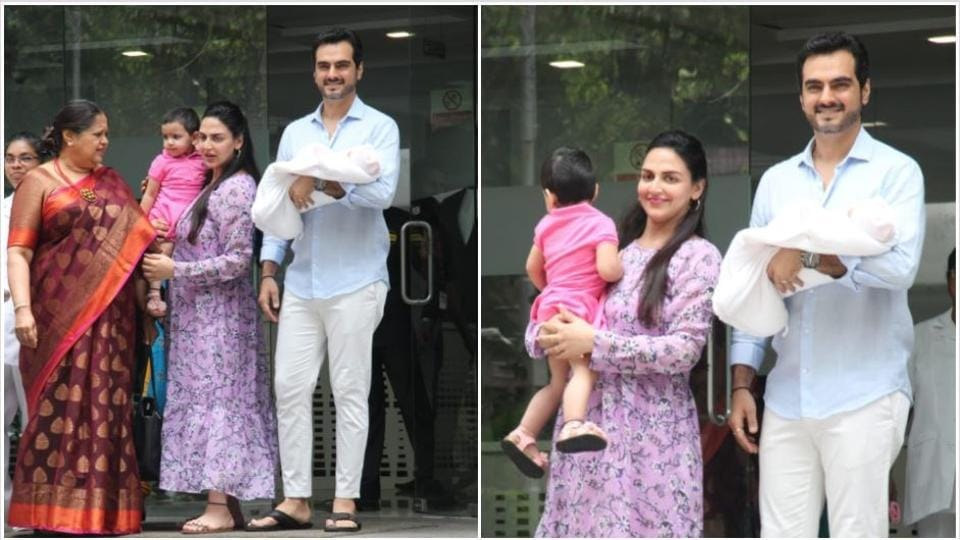 Esha Deol with her husband and daughters.