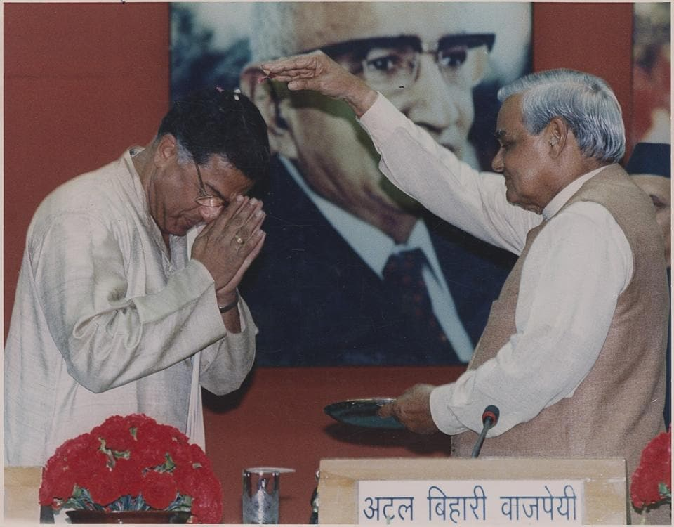 Girish Karnad seeks blessing from fromer PM Atal Bihari Vajpayee before receiving the 34th Jnanpith Awards, New Delhi, 1999. We should remember Karnad as a great playwright and superb actor, and as a profoundly civilised human being
