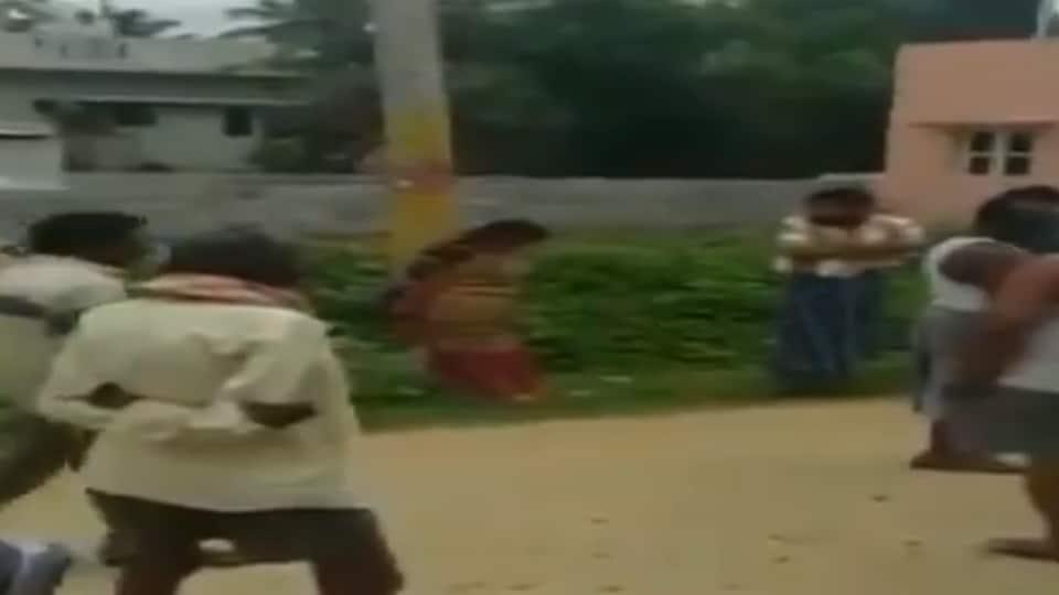 karanataka,kodigehalli,woman tied on pole in karnataka