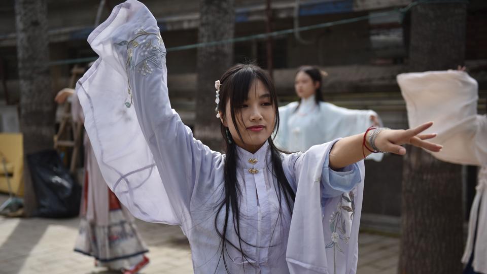 This photo taken on April 5, 2019 shows women wearing
