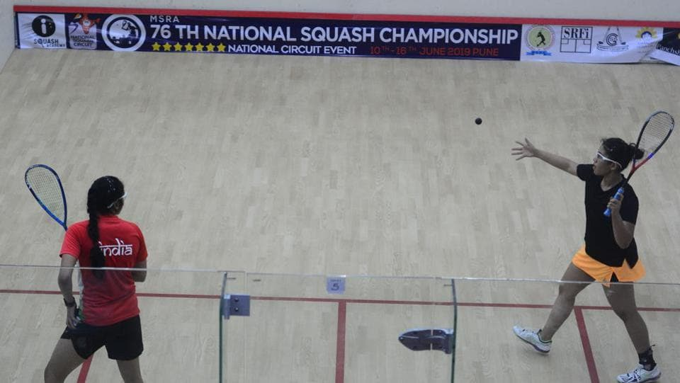Sanya Vats (in black) and Aishwarya in action during the championship on Thursday.