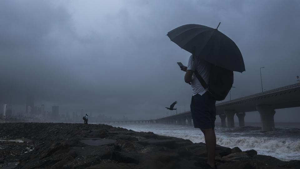 Mumbai received light pre-monsoon showers and wind speeds ranging between 15-16kmph with high moisture content in the city's air.