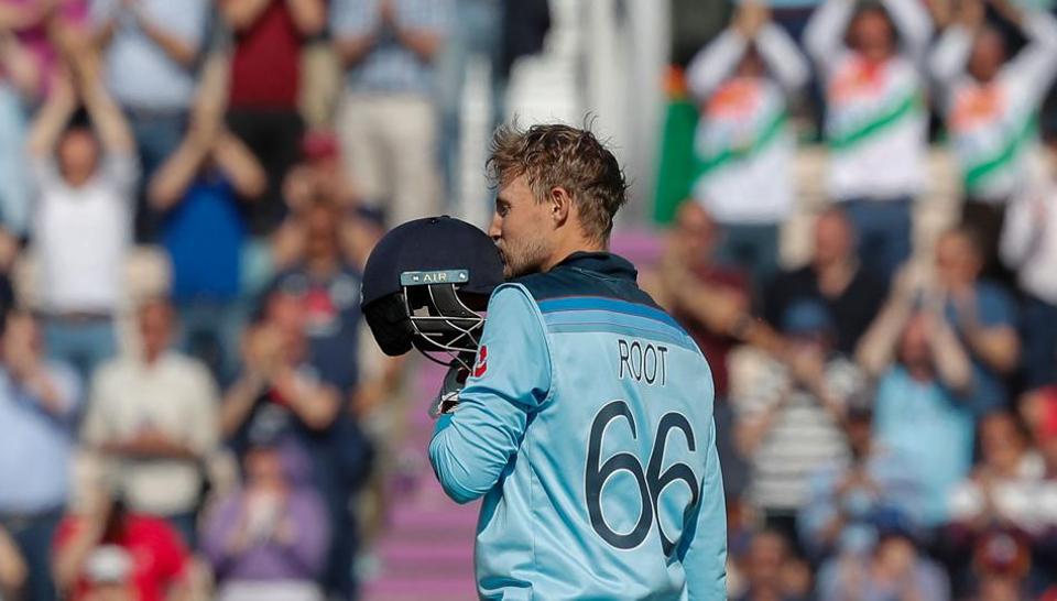 England's Joe Root celebrates after scoring a century