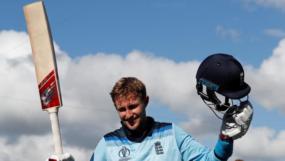 England's Joe Root (L) acknowledges the crowd as he walks off the field with England's Ben Stokes after victory in the 2019 Cricket World Cup group stage match between England and West Indies at the Rose Bowl in Southampton, southern England, on June 14, 2019.