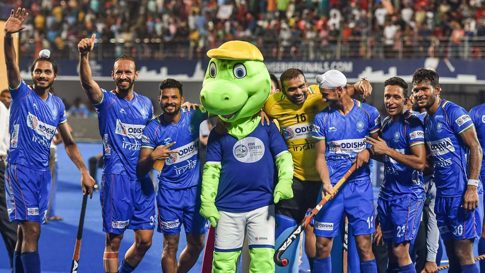 Indian hockey team celebrate with the mascot after winning FIH Men's Series Finals 2019.