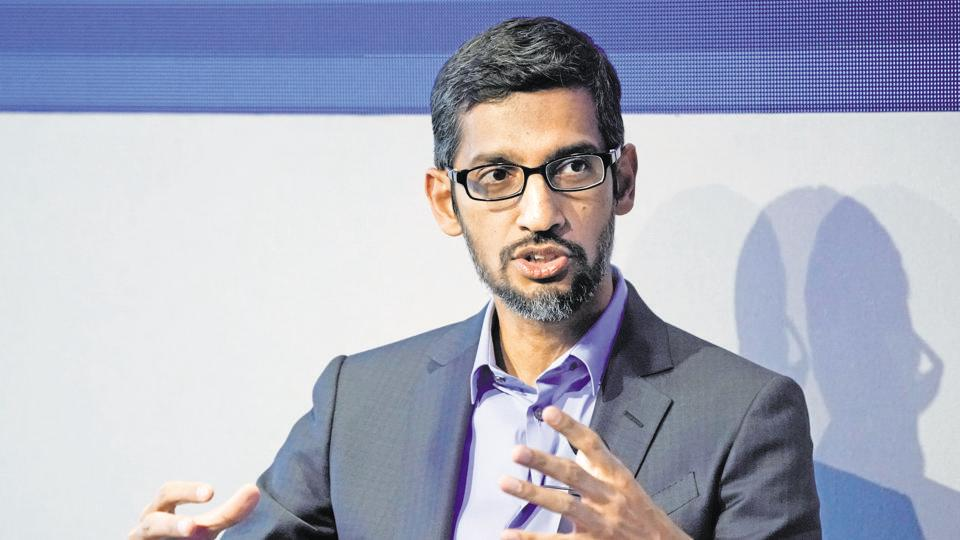 Sundar Pichai, Chief Executive Officer of Google, gestures as he speaks during the World Economic Forum (WEF) annual meeting in Davos, Switzerland January 24, 2018.