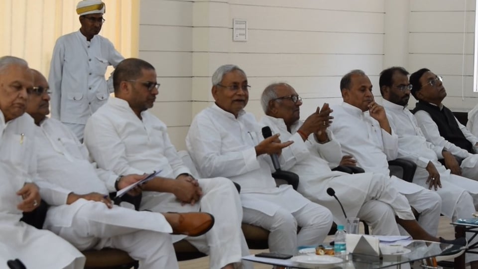 Having secured and encashed a respectable seat-sharing agreement with the BJP in the just-concluded Lok Sabha elections, Nitish Kumar is gearing up for next year's assembly elections, which will be crucial for his future and that of his party's.  (Photo by@Jduonline)
