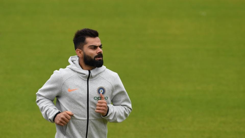 India's captain Virat Kohli attends a training session at Old Trafford Cricket Stadium