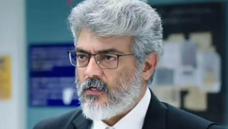 Ajith in a still from Nerkonda Paarvai.