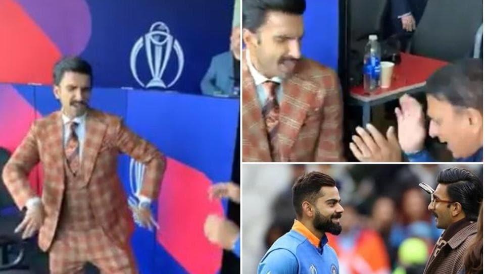 Ranveer Singh hugs Virat Kohli after India-Pakistan World Cup match, dances withGavaskar on cult Hindi film song. Watch videos