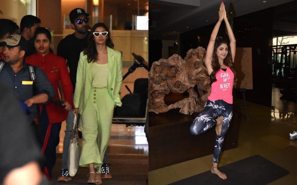 Alia Bhatt, Ranbir Kapoor at the Mumbai airport (left) and Shilpa Shetty performs yoga ahead of International Yoga Day.