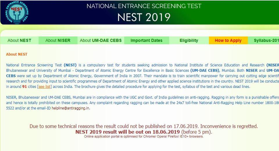 NEST Result 2019 delayed, will be declared tomorrow at nestexam.in