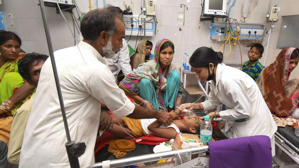 Children showing symptoms of Acute Encephalitis Syndrome (AES) undergoing treatment at Sri Krishna Medical College and Hospital (SKMCH), in Muzaffarpur, Monday, June 17, 2019.