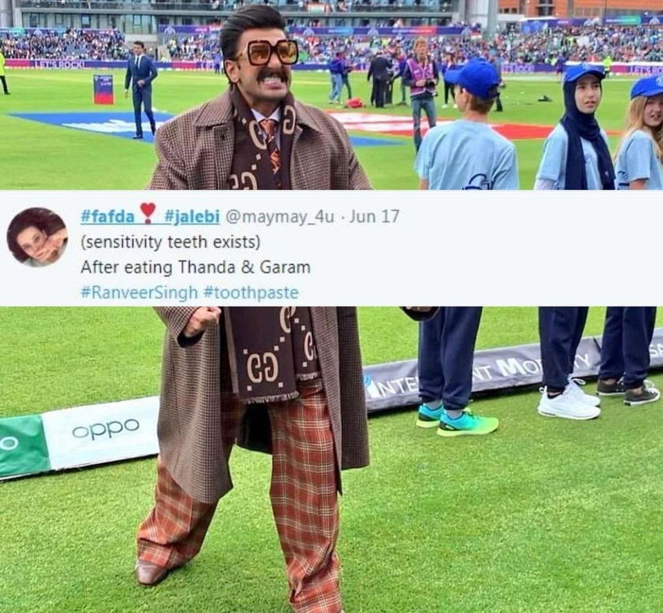Ranveer Singh's reaction during India vs Pakistan World Cup match is now a meme.