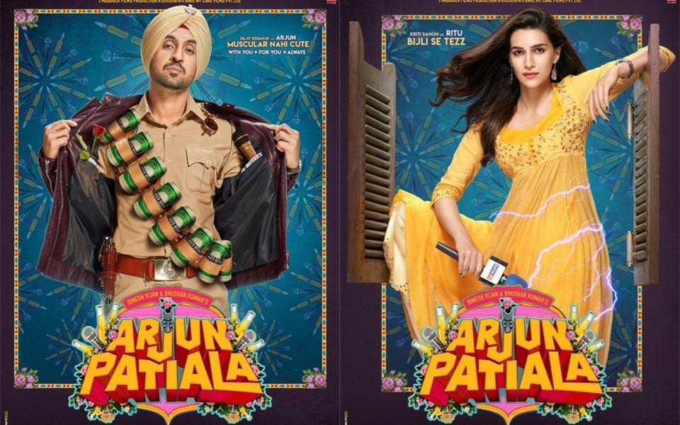 Arjun Patiala posters show Diljit Dosanjh and Kriti Sanon as a cop and as a reporter, respectively.