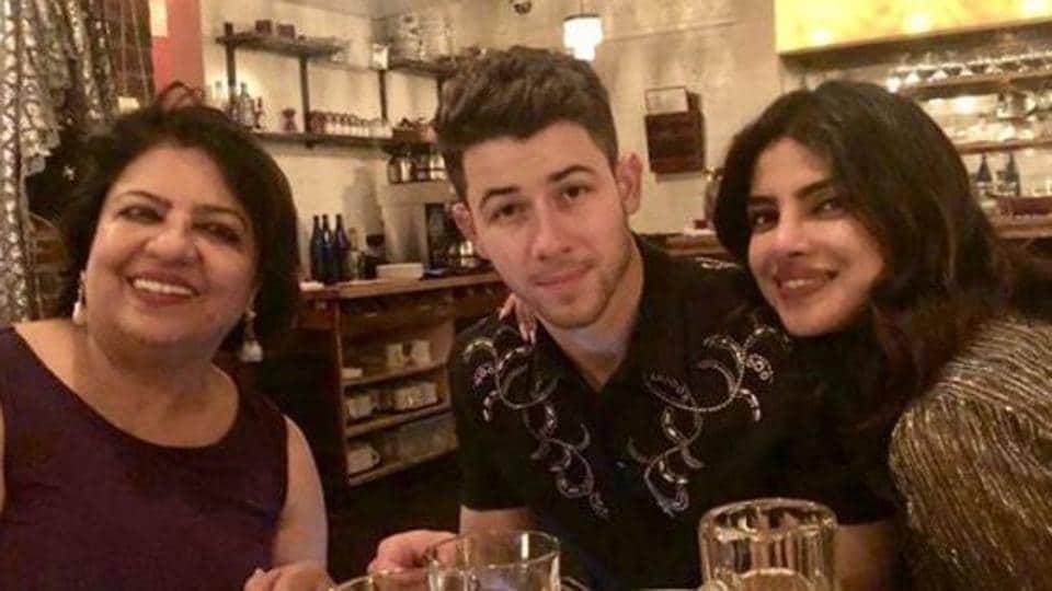 Priyanka Chopra and Nick Jonas celebrate Madhu Chopra's birthday in Boston.