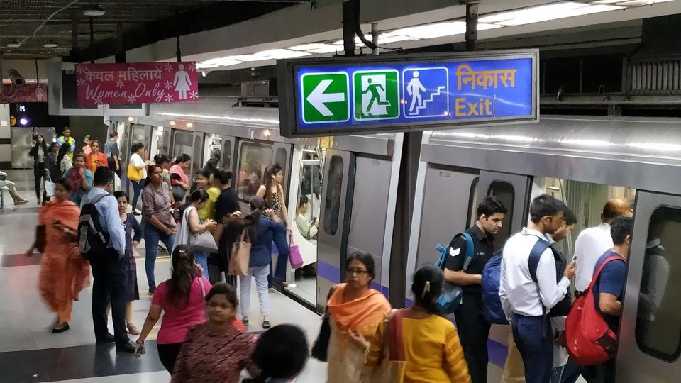 A 29-year-old Delhi-based woman, an interior designer, alleged that a man masturbated on her when she was climbing down an escalator at the Huda City Centre Metro Station complex on June 14. (Sanjeev Verma / Hindustan Times)