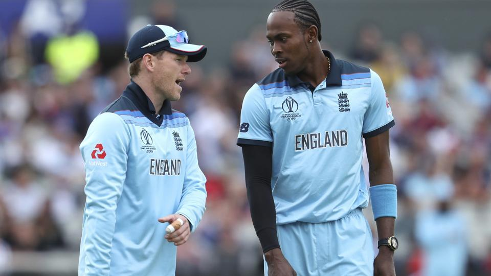 England's captain Eoin Morgan and Jofra Archer during the Cricket World Cup.