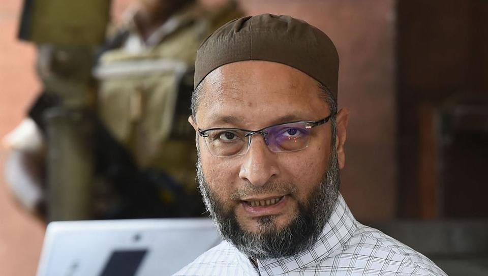 Asaduddin Owaisi, president of AIMIM, was greeted with slogans of 'Jai Shri Ram', 'Bharat Mata Ki Jai' and 'Vande Mataram' as he went on to take oath as a member of the 17th Lok Sabha here.