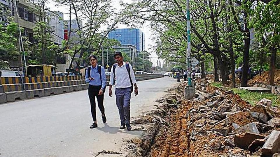 Even five months after the groundbreaking ceremony for widening and re-carpeting three roads in Udyog Vihar was done, there has hardly been any progress in the work on the ground, said factory owners on Wednesday.