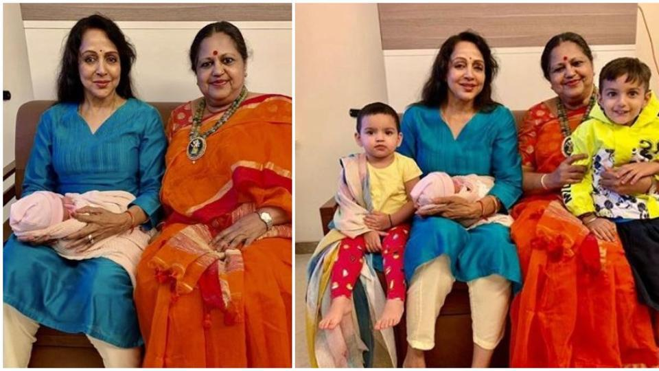Hema Malini is a happy grandmom as she poses with Esha Deol's newborn daughter Miraya. See pics