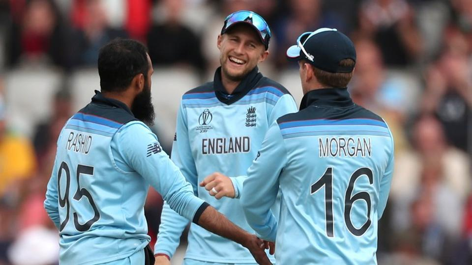 icc cricket world cup england v afghanistan old trafford manchester britain june 18 2019 england s adil rashid celebrates with joe root and eoin