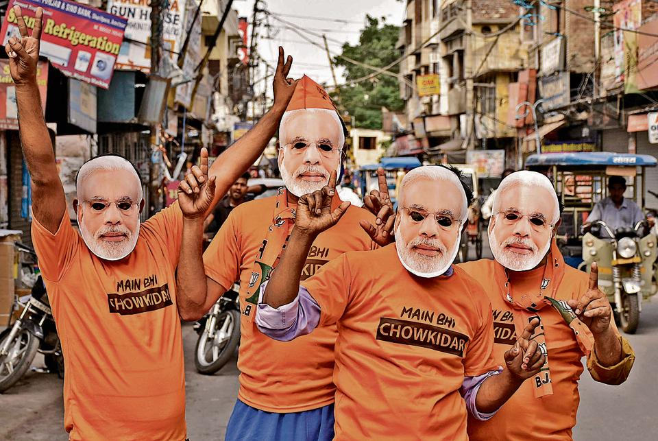 Bharatiya Janata Party (BJP) workers in Amritsar on May 23, 2019 as the NDAtook the lead in the Lok Sabha elections.