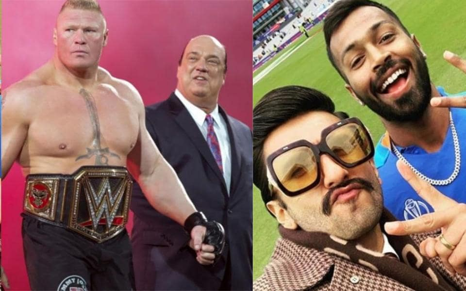 Brock Lesnar and his advocate Paul Heyman (left) and Ranveer Singh with Hardik Pandya during India vs Pakistan match.