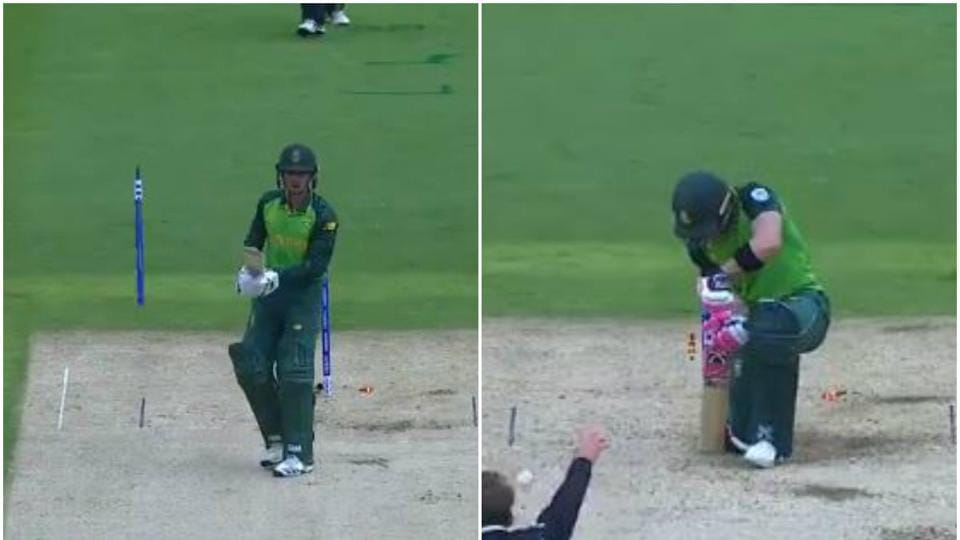 Quinton de Kock and Faf du Plessis getting clean bowled against New Zealand