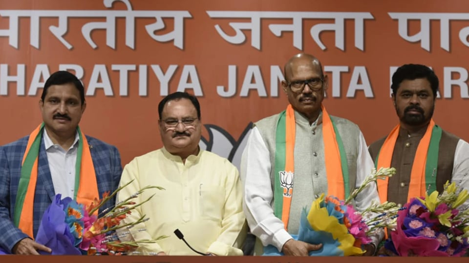 Chandrababu Naidu's TDP sustained a major setback on Thursday when four Rajya Sabha MPs joined the BJP in the presence of its working president J P Nadda at BJP HQ in Delhi on Thursday. (Vipin Kumar/ HT Photo)