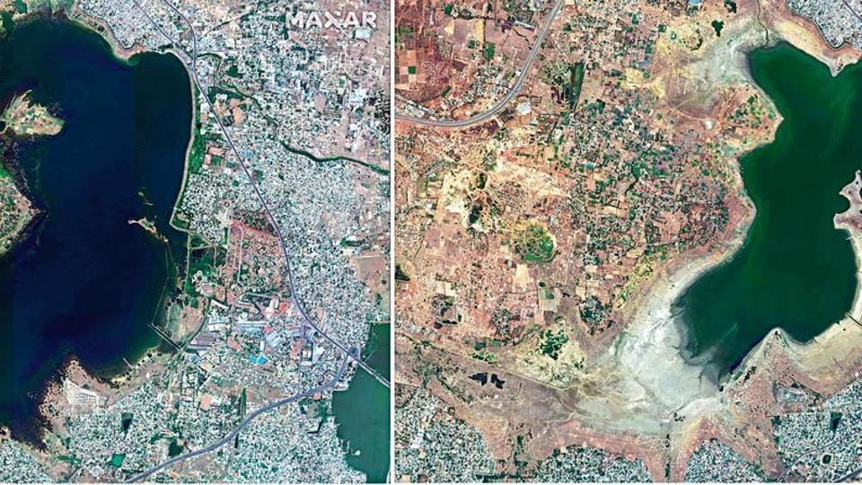A satellite image taken by Maxar Technologies shows the depleting water levels of Redhills (or Puzhal) reservoir, one of the big four that supplies water to Chennai, on June 15, 2018, and April 6, 2019.