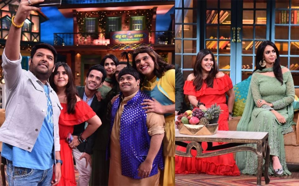 Kapil Sharma, Ekta Kapoor, Tusshar Kapoor, Mallika Sherawat, Kiku Sharda and Krushna Abhishek on sets of The Kapil Sharma Show.