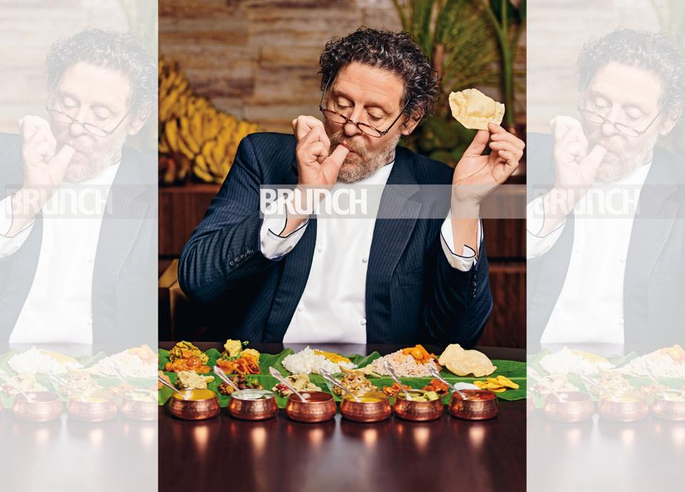 Chef Marco Pierre White sampling the traditional Onam Sadhya in Bengaluru, India.  Photos shot exclusively for HT Brunch by Prabhat Shetty