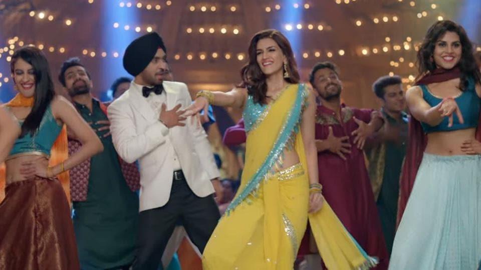 Diljit Dosanjh, Kriti Sanon in a still from the Arjun Patiala trailer.