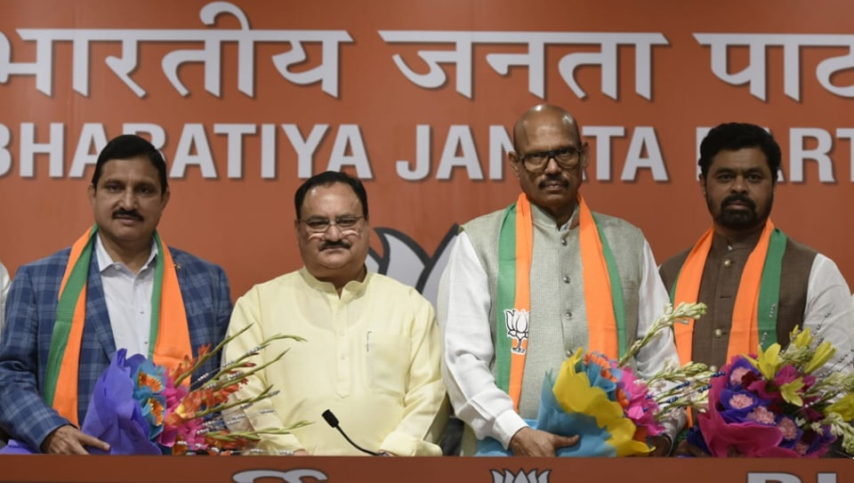 Chandrababu Naidu's TDP sustained a major setback on Thursday when four Rajya Sabha MPs joined the BJP in the presence of its working president J P Nadda at BJP HQ in Delhi on Thursday.