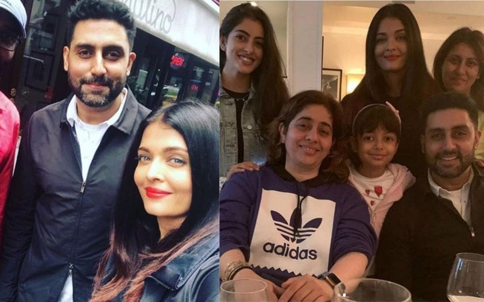Aishwarya Rai, Abhishek Bachchan twin in black as they go out for a stroll in New York. See pic