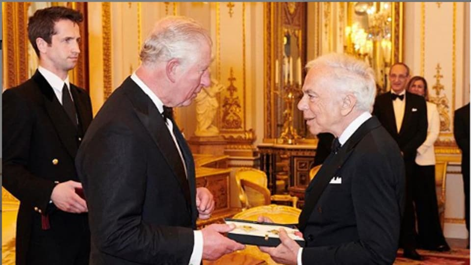 Ralph Lauren received Honorary Knight Commander of the Most Excellent Order of the British Empire, a first for an American fashion designer.