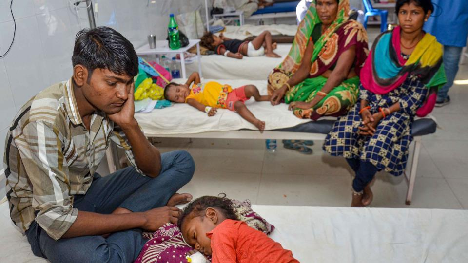 Children showing symptoms of Acute Encephalitis Syndrome (AES) being treated at a hospital in Muzaffarpur, Thursday, June 20, 2019.