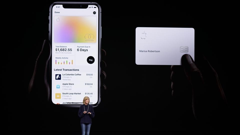 FILE- In this Monday, March 25, 2019, file photo, Jennifer Bailey, vice president of Apple Pay, speaks about the Apple Card at the Steve Jobs Theater during an event to announce new products in Cupertino, Calif.