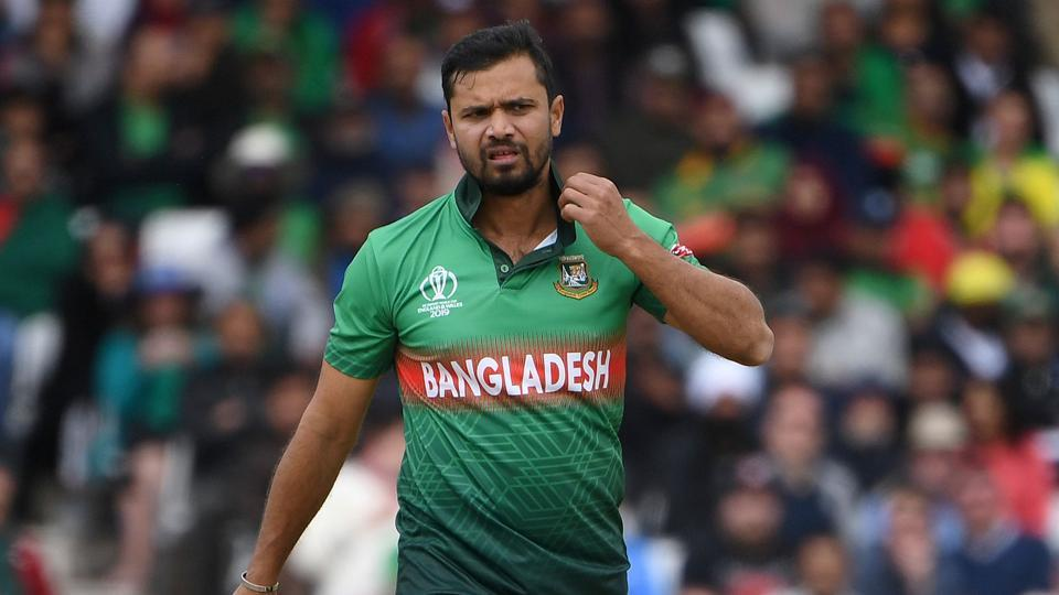 Bangladesh's captain Mashrafe Mortaza reacts during the 2019 Cricket World Cup group stage match between Australia and Bangladesh at Trent Bridge in Nottingham, central England, on June 20, 2019.