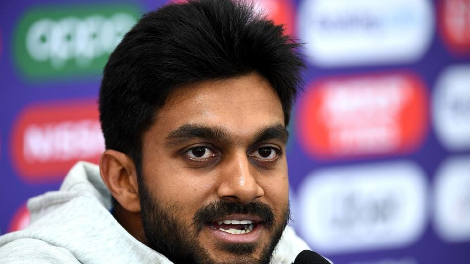 India's Vijay Shankar speaks during a press conference at the Rose Bowl.