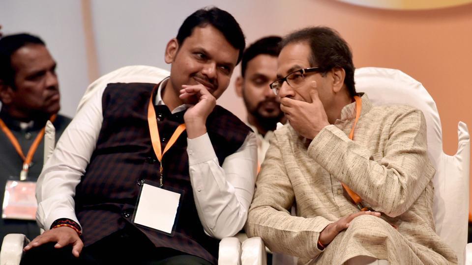 Mumbai: Shiv Sena Chief Uddhav Thackeray and Maharashtra Chief Minister Devendra Fadnavis at the Foundation Day celebration of Shiv Sena Party in Mumbai.