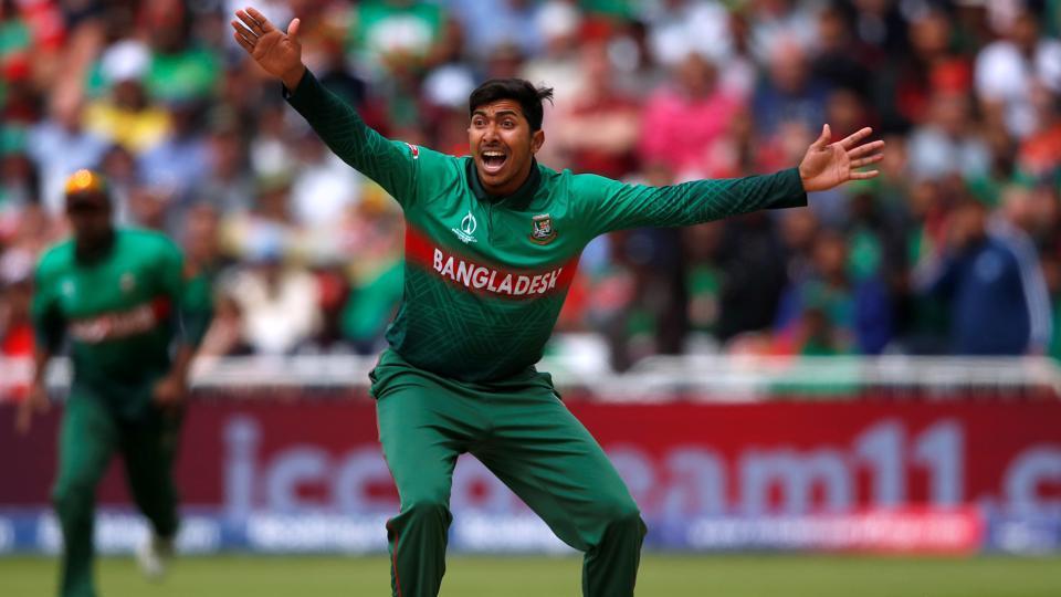Bangladesh's Soumya Sarkar appeals during the match against Australia.