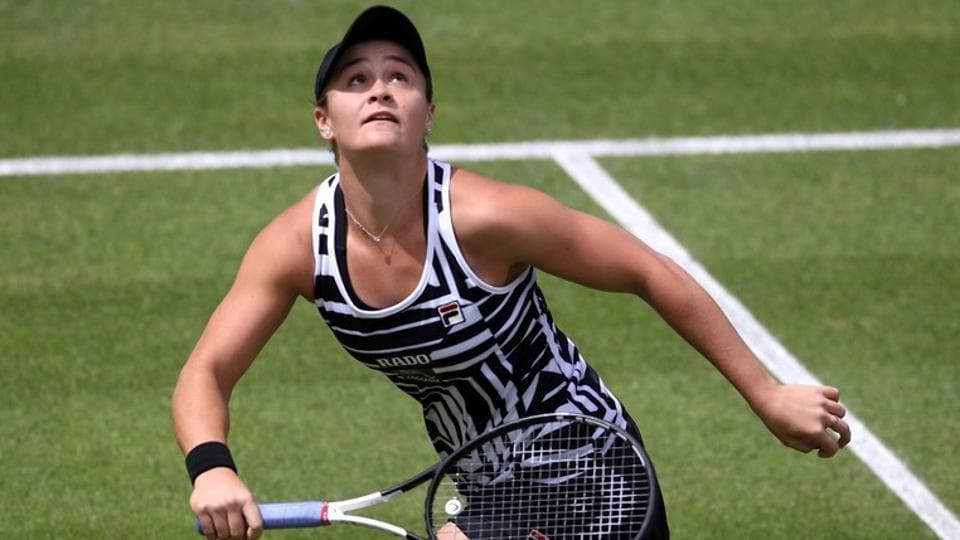 Australia's Ashleigh Barty in action during her second round match against Jennifer Brady.