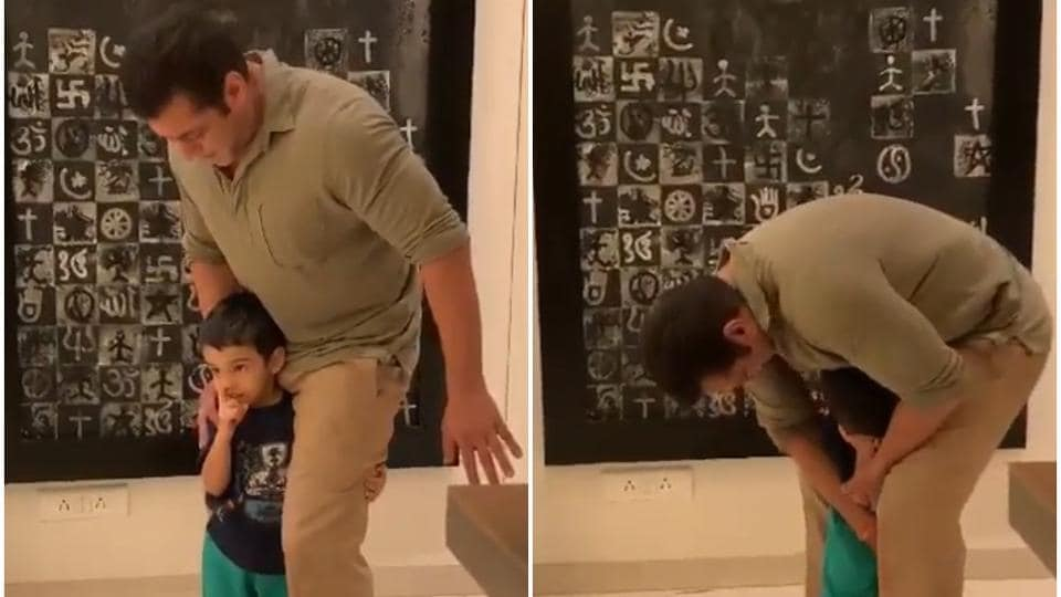 Salman Khan and his nephew Ahil Sharma in a new video.