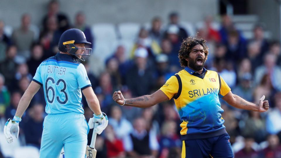 Sri Lanka's Lasith Malinga celebrates taking the wicket of England's Jos Buttler